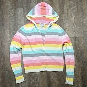 🌵 Rainbow Striped button up Cardigan Hooded